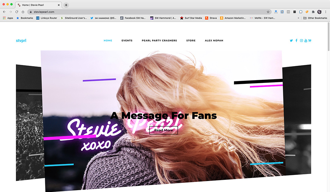 Stevie Pearl Website Screen Shot